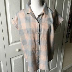 🍀Lucky Brand Linen cotton blend blouse NWT